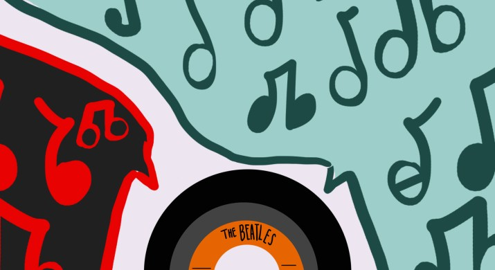 A black and orange Beatles record with 2 speech bubbles emerging from it: one has a teal outline and a light cyan interior, filled with teal music notes. The other speech bubble has a red outline and red music notes and is filled in with black.