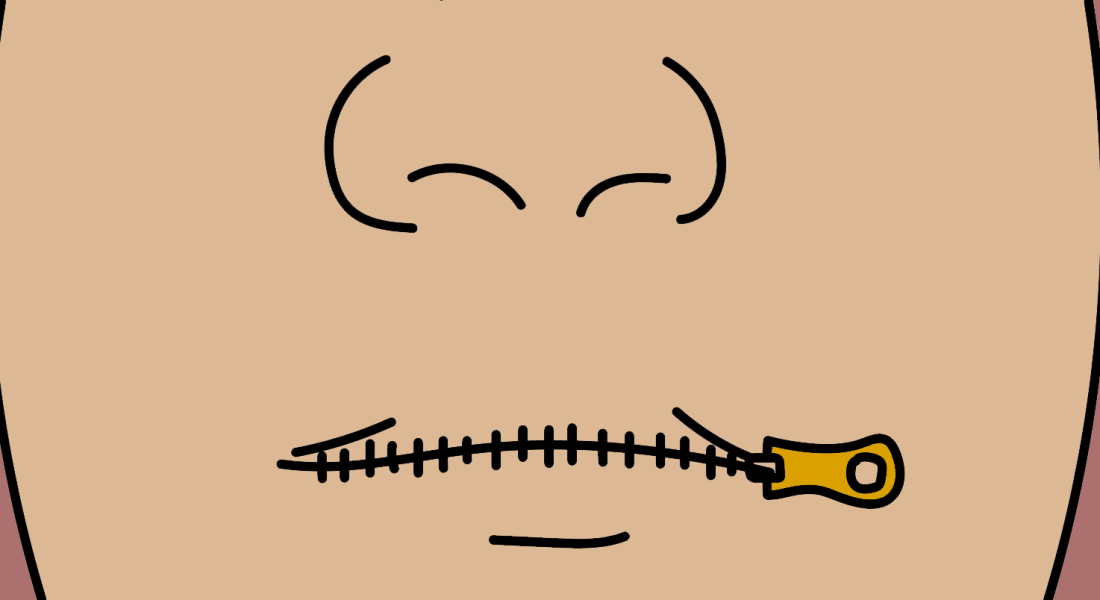 A closeup of a person's nose and mouth: the seam of the mouth contains a black zipper with a gold end dangling from the lip