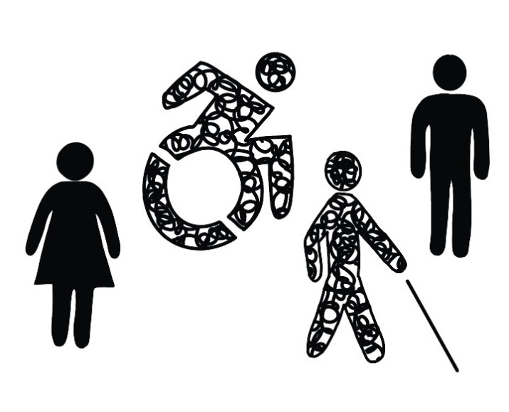 image displays handicap, male, and female symbols for Disability Day of Mourning