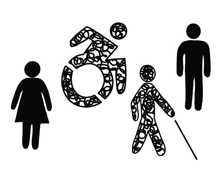A black and white graphic that displays handicap, male and female symbols.