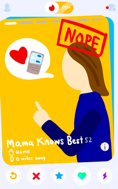 "App titled ""Mama Knows Best"" displays a mother figure approving/disapproving potential matches for her child."