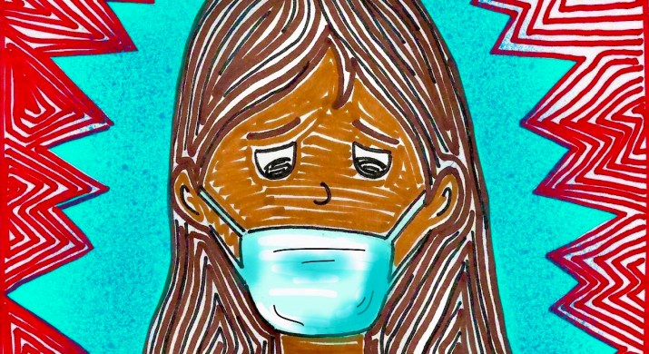 A girl wears a medical face mask against a blue and red background.