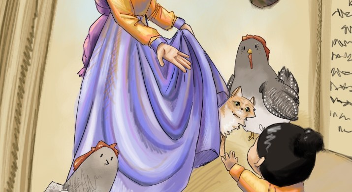 A little girl looks up to a mythical princess with antlers, along with her chicken, cat, and dragon friends in a storybook.