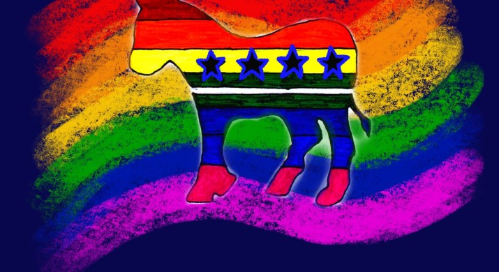 A Democratic Donkey symbol rests against a rainbow LGBTQ flag background