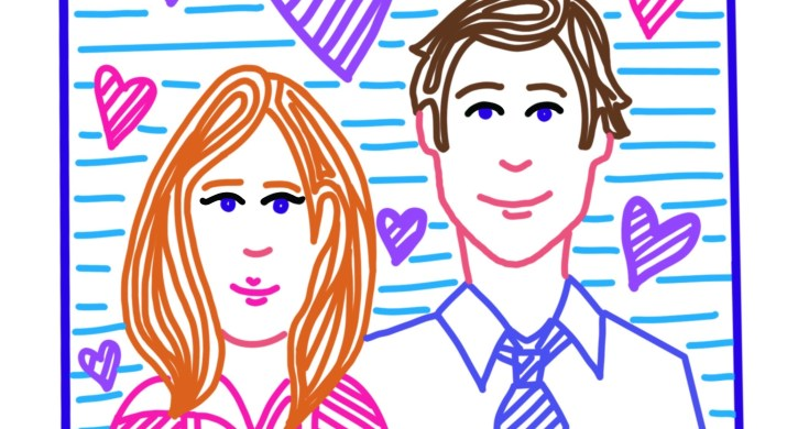 Portrait of Jim and Pam from The Office TV Show