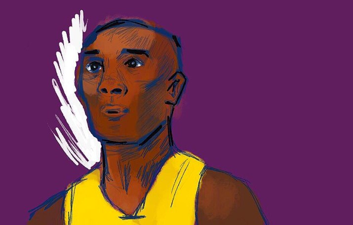 Portrait of Kobe Bryant in basketball uniform against purple background.