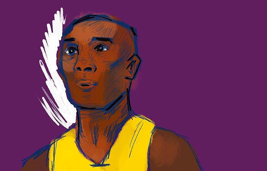 Portrait of Kobe Bryant in basketball uniform against purple background.