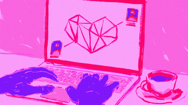 Against a hot pink background are purple hands typing on a pink laptop with a heart and two profiles connecting on the screen. Next to the laptop is a cup of coffee.