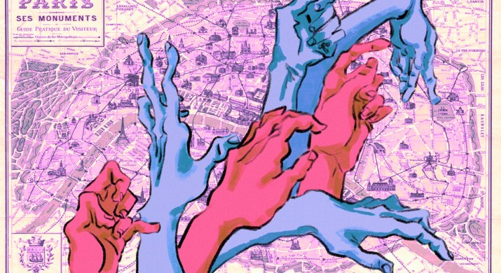 A wave of pink and blue hands reach out against a map of Paris background.