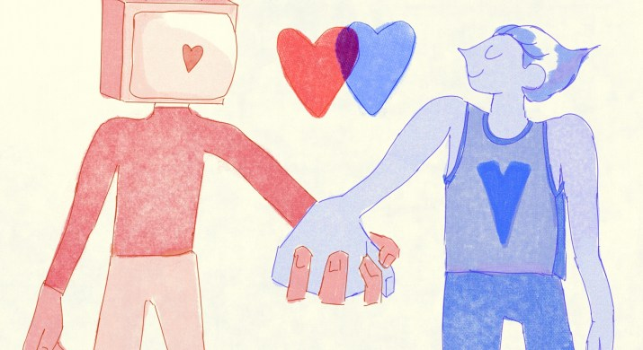 Two figures stand holding hands. The figure on the left is red and has a television as a head. On the television screen is a red heart. The right figure is colored in blue, and is smiling and wearing a basketball jersey and jeans. In between them, above their hands, are two red and blue hearts, overlapping in the center and becoming purple.