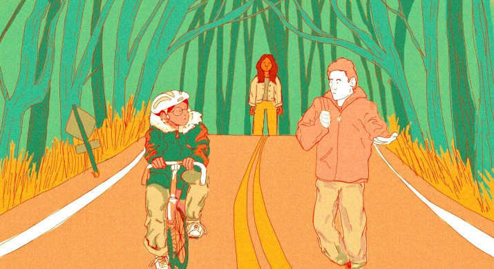 A head-on illustration of a street. On the left lane of the street, a girl is riding her bike, wearing a puffer jacket, jeans, and bike helmet. On the right lane of the street, a tall boy walks, holding his backpack strap and wearing a jacket, jeans, and boots. Behind and between the two is a girl. She is far away and looks sad. Green trees line the street.