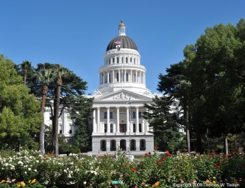 The California State Capitol. It is a white building with large columns in front and a rotunda. In front of the building are bushes full of flowers
