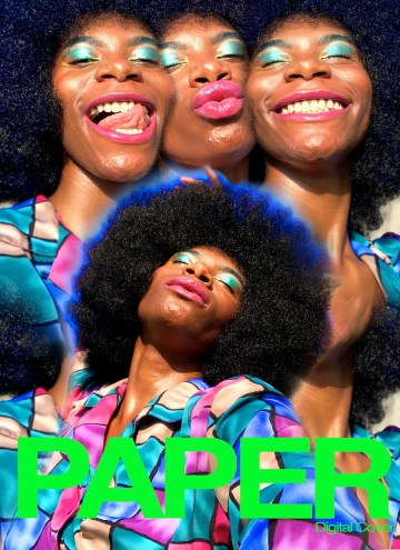 """A DIY magazine cover —four photos of the same Black model make up the front of the magazine cover. The model makes various faces, sometimes smiling and sometimes puckering their lips. At the bottom of the photo, the words """"PAPER: Digital Cover"""" appear in neon green."""