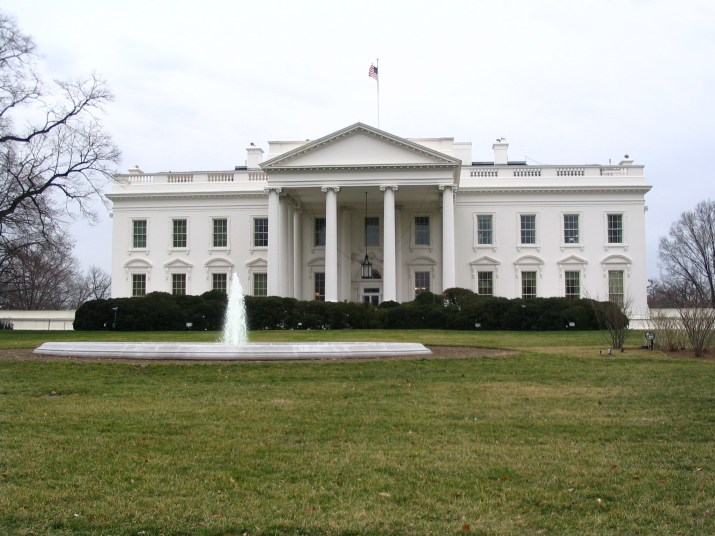 A photo of the north side of the White House.