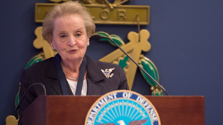 SD presents award to Madeleine Albright
