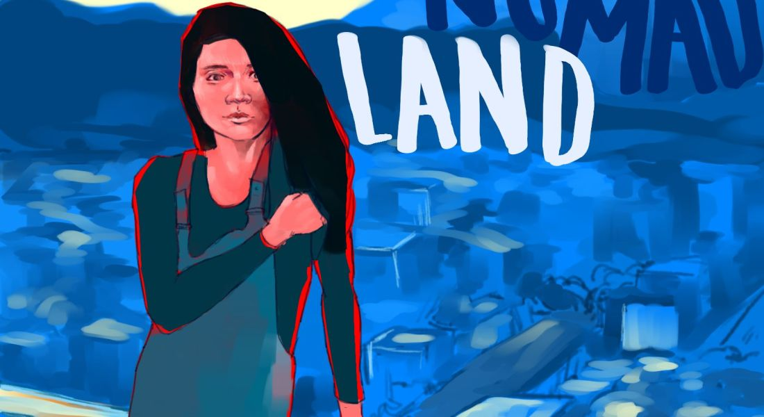 "An illustration of a Chloé Zhao taking the film industry and Venice Film Festival by storm with her movie ""Nomadland."""