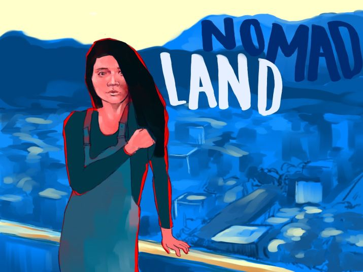"""An illustration of a Chloé Zhao taking the film industry and Venice Film Festival by storm with her movie """"Nomadland."""""""