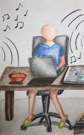 A drawing of a student taking zoom classes with a hectic background.