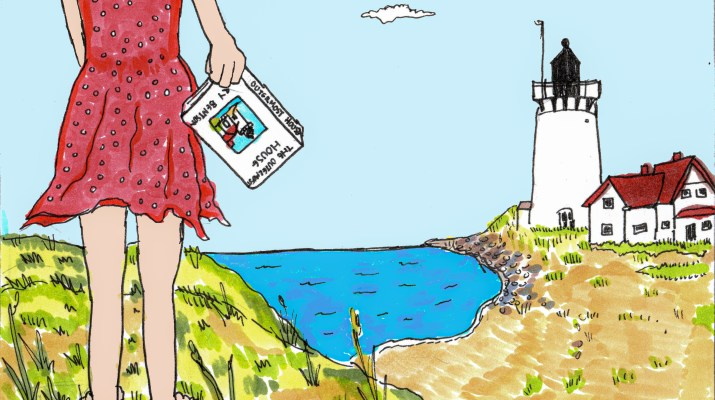 A drawing of a girl standing by the Cape Cod seashore with a book in her hand.