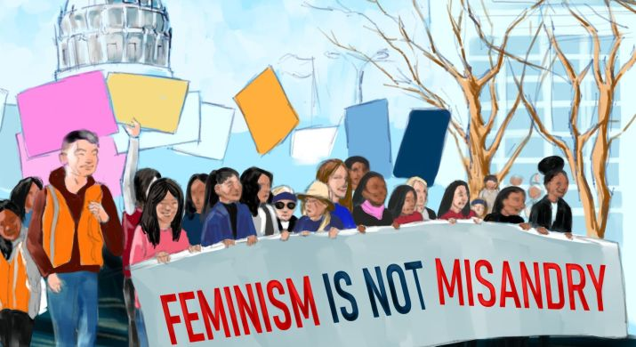 A drawing of a women's march in Washington DC.