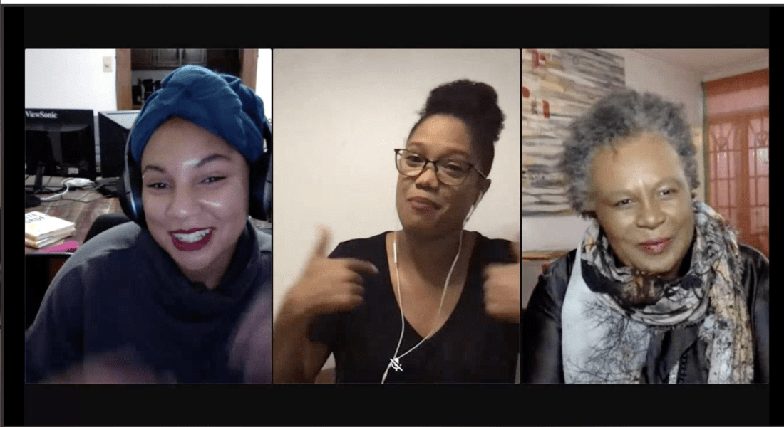 Three women speak on a zoom call.