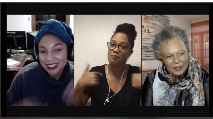 Three women speak on a zoom call.