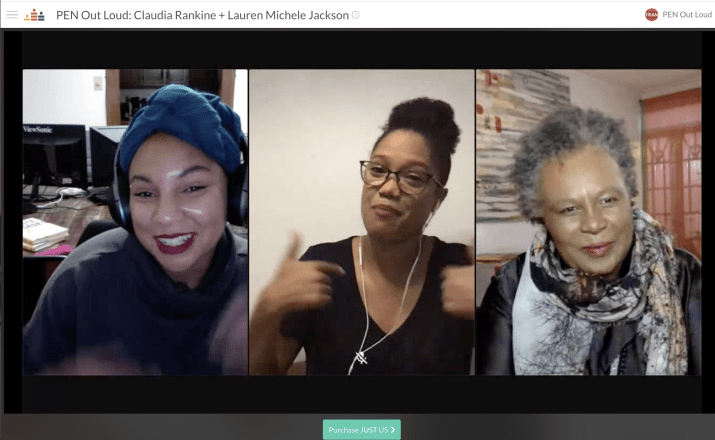 Thee women speak on a zoom call.
