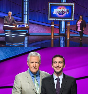 A composite image of two jeopardy contestants with host Alex Trebek.