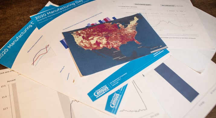 Multiple official documents including a map of the United States and the census sit on a table.