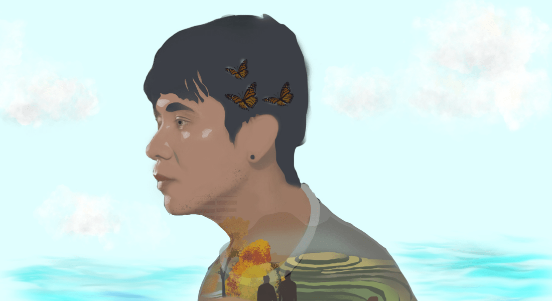 A drawing of Ocean Vuong.