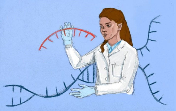 A drawing of a scientist editing genes.
