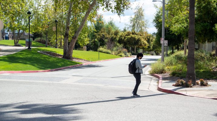 A student stands on a street surrounded by trees.