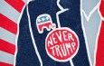 "A man in a suit with a button titled, ""NEVER TRUMP"" with the republican elephant symbol"