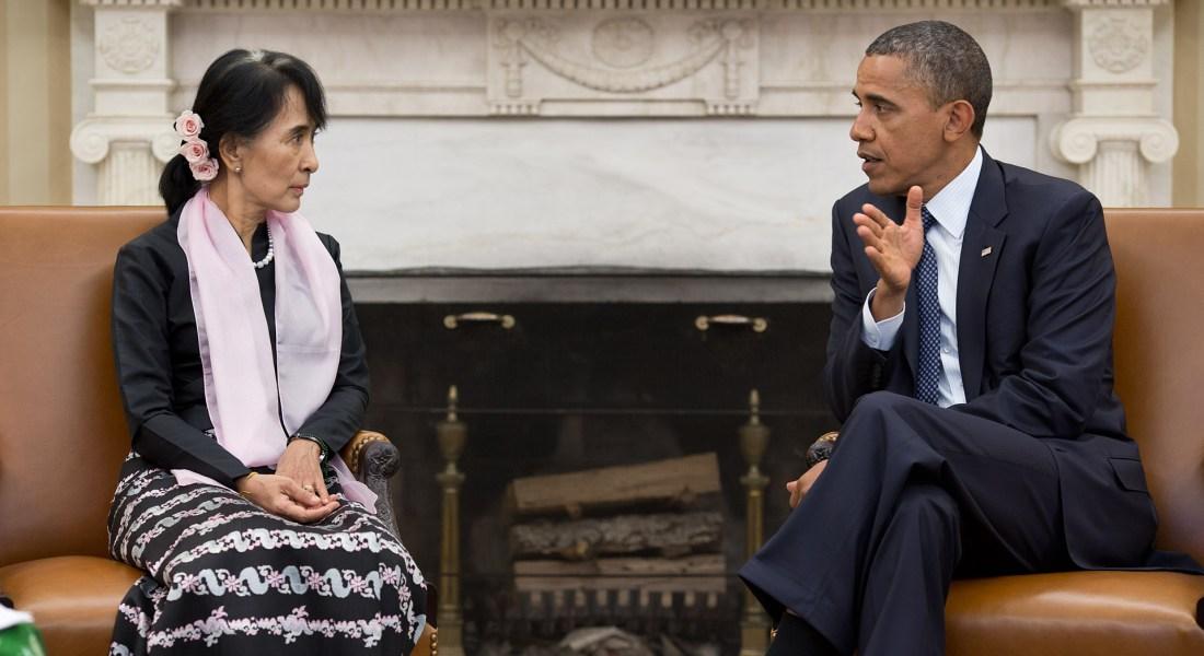 Former US President Barack Obama sits with Opposition Leader Aung San Suu Kyi of Myanmar in the Oval Office.