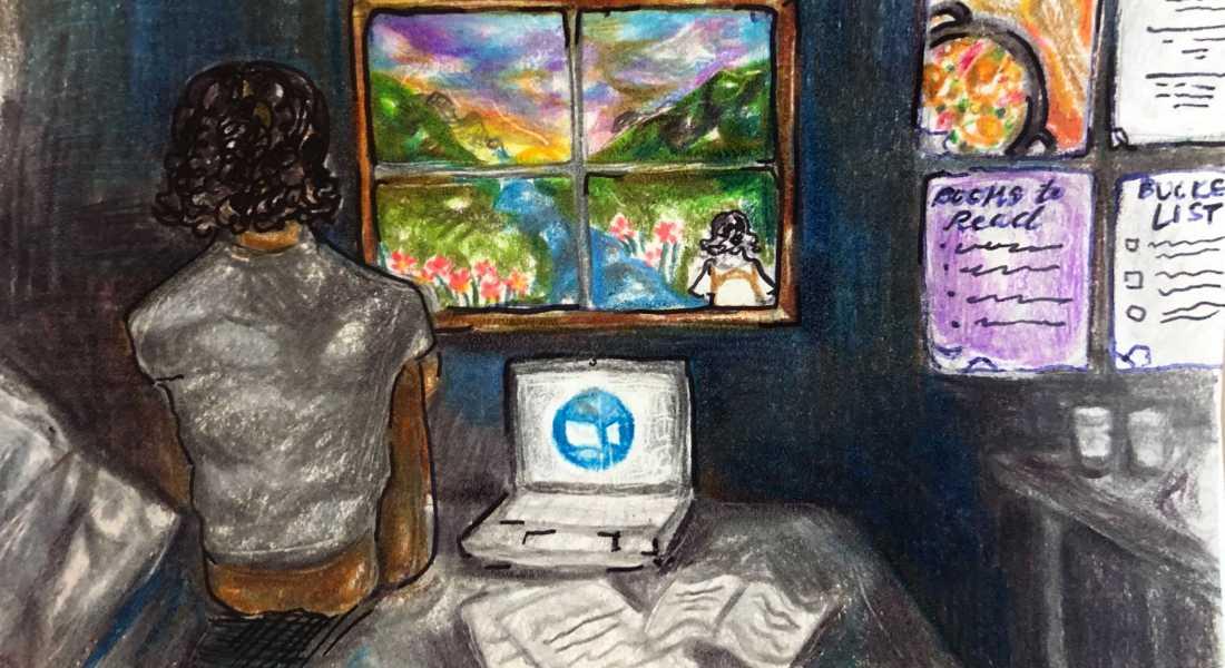 Girl in bedroom looking outside