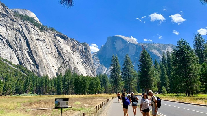 Students stand on a road next to green trees under rocky mountains.