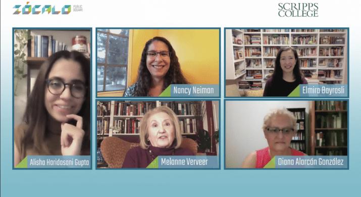 A screenshot of five women on a Zoom call.
