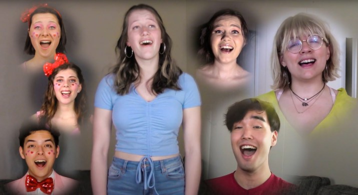 A screenshot from a virtual play featuring seven singing college actors.