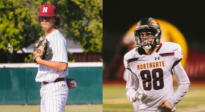 Two photos are next to each other. In the left image, a young man is in baseball attire and prepares to pitch. In the right, the same man is wearing a football uniform.