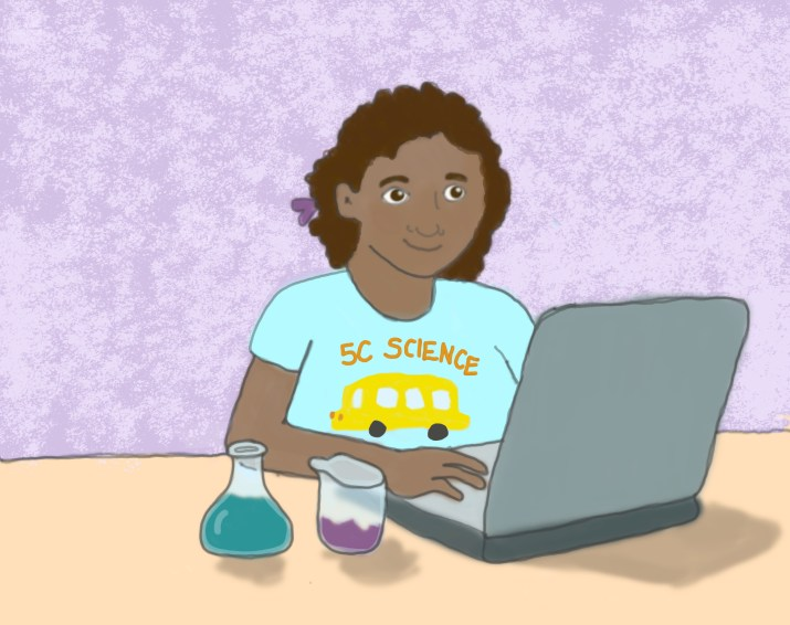 A young girl learning online