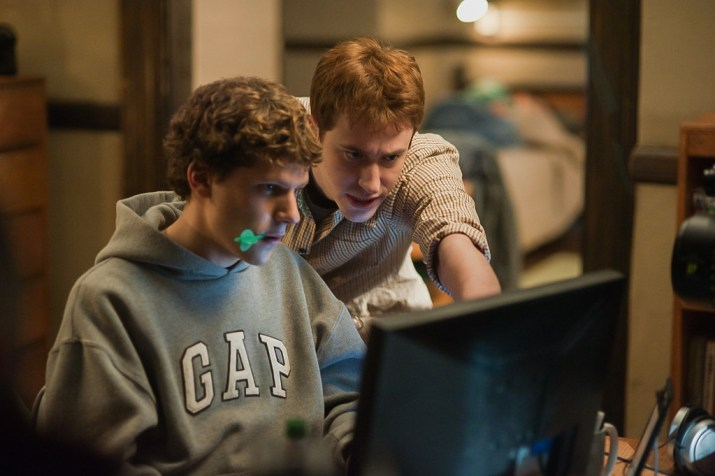 "Actors Jesse Eisenberg and Joseph Mazzello play Mark Zuckerberg and Dustin Moskovitz in ""The Social Network."""