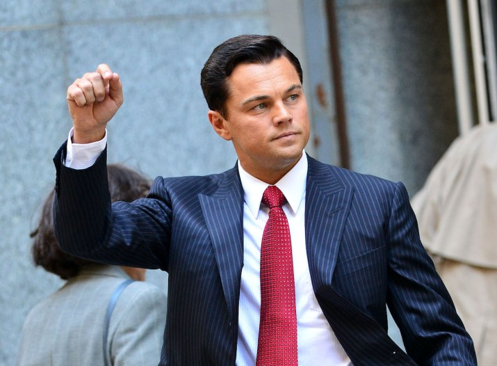 """A photo of Leonardo DiCaprio playing Jordan Belfort in """"The Wolf of Wall Street."""""""