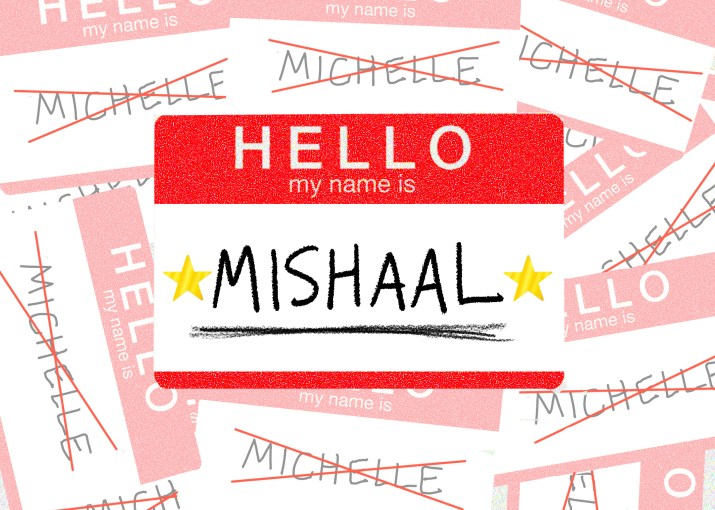 Drawing of a name tag with the correct pronunciation of a name, in front of discarded name tags with incorrect spellings of that name.