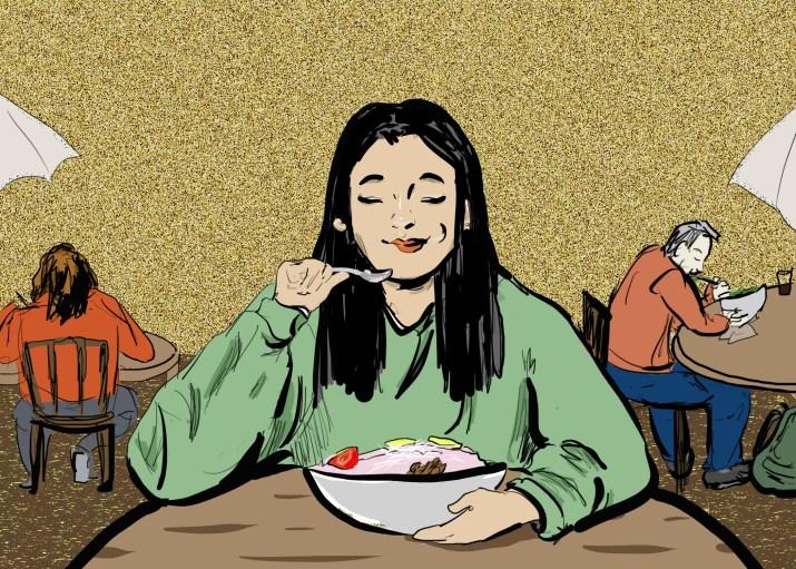 Drawing of a girl eating yogurt happily