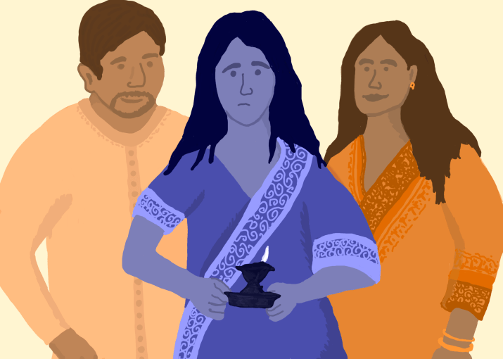 Drawing of an uncomfortable girl holding a diya while her parents stare at her.