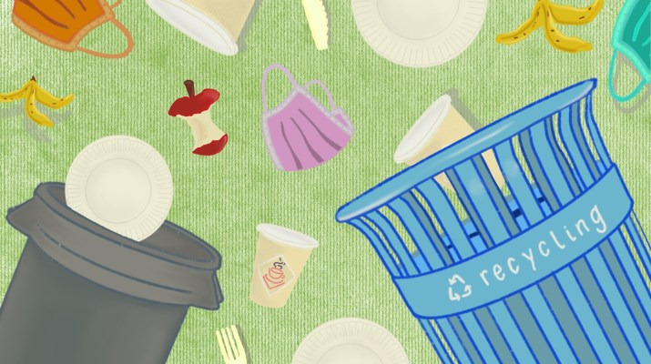 A drawing of trash cans with disposable utensils, face masks, and food waste.