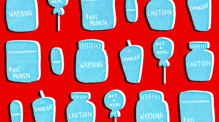 Drawing of lolipops and pills with warning signs on them