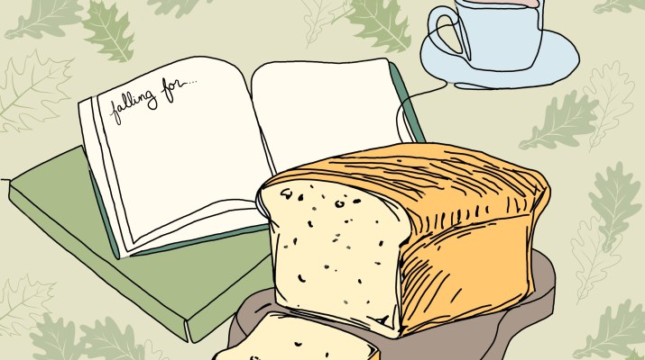 Drawing of a journal, bread, and a cup of tea