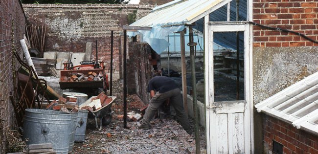 West Dean Garden's Victorian glasshouse prior to restoration circa-1992