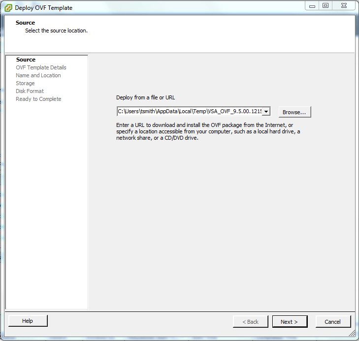 Select the .ovf file to deploy
